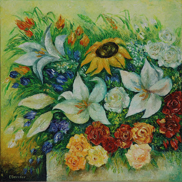 Flowers Art Print featuring the painting Summer Bouquet - Left Part Of Diptych. by Evgenia Davidov