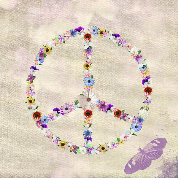 Peace Art Print featuring the mixed media Summer Flower Power by Maria Dryfhout