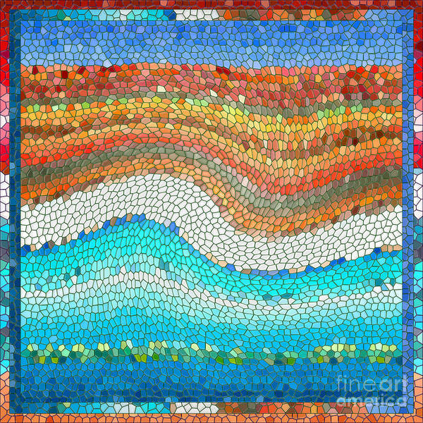 Colorful Art Print featuring the digital art Summer Mosaic by Melissa A Benson