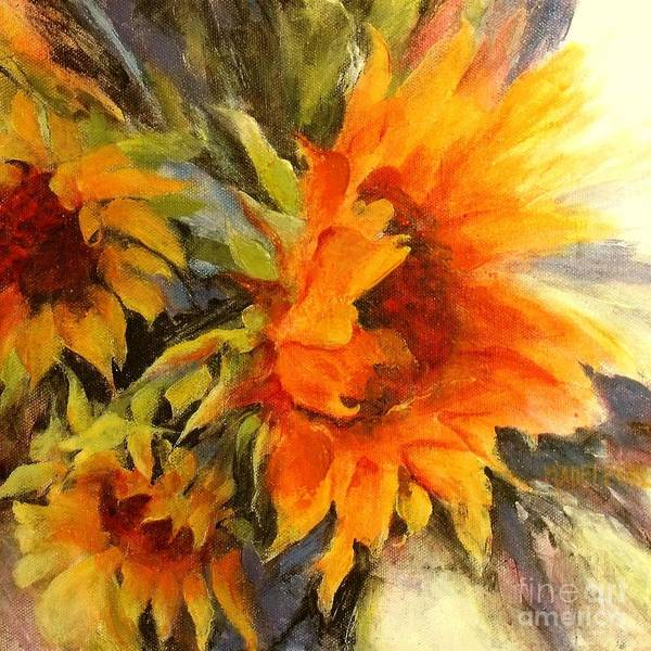 Sunflower Painting Art Print featuring the painting Sunburst by Madeleine Holzberg