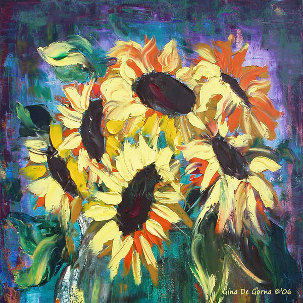 Sunflowers Art Print featuring the painting Sunflowers 2 by Gina De Gorna
