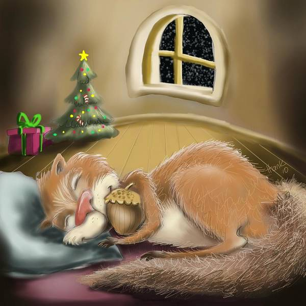 Illustration Of A Sleeping Squirrel Art Print featuring the painting Sweet Dreams by Hank Nunes