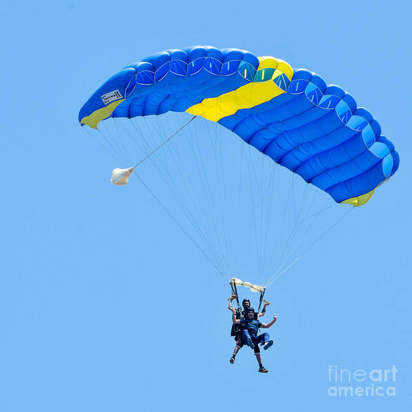 Tandem Art Print featuring the photograph Tandem Paragliding by Shay Levy