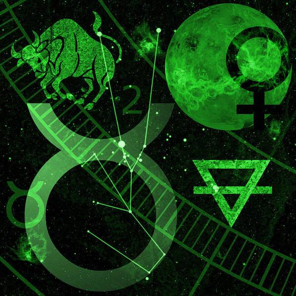 Horoscope Art Print featuring the digital art Taurus by JP Rhea