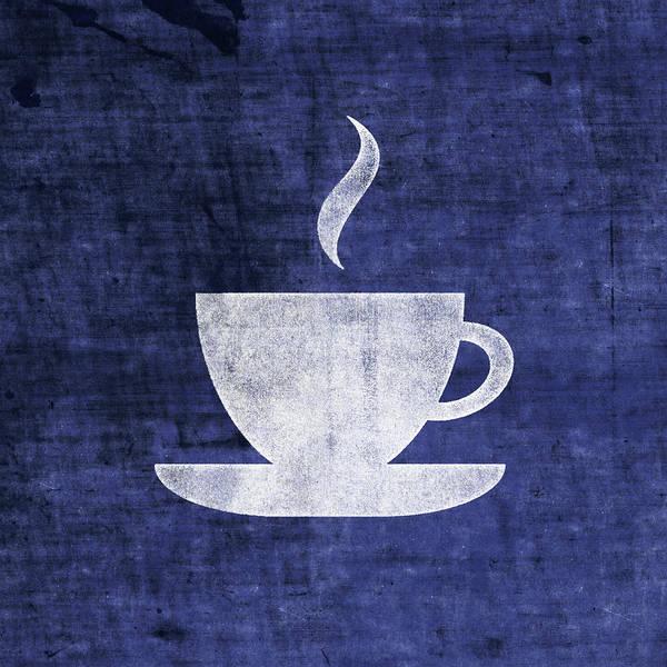 Tea Art Print featuring the mixed media Tea Or Coffee Blue- Art By Linda Woods by Linda Woods