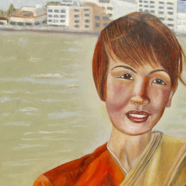 Thai Art Print featuring the painting Thai Hostess by Keith Bagg