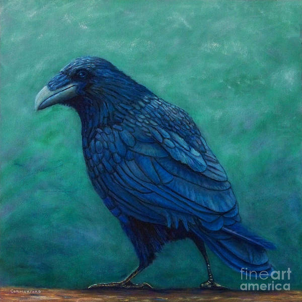 Raven Art Print featuring the painting The Ancient One by Brian Commerford