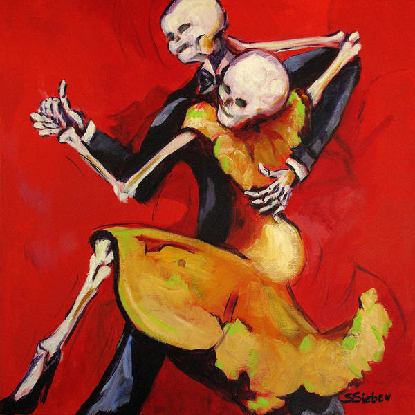 Day Of The Dead Art Print featuring the painting The Dancers by Sharon Sieben