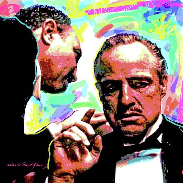 Movie Stars Art Print featuring the painting The Godfather - Marlon Brando by David Lloyd Glover