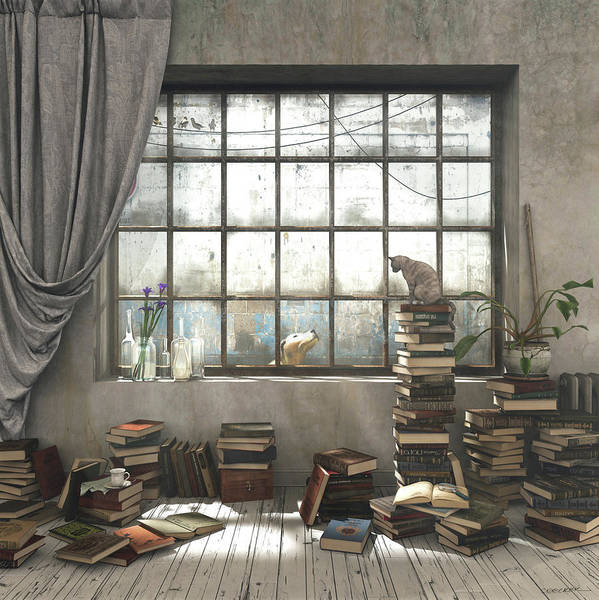 Books Art Print featuring the digital art The Introvert by Cynthia Decker