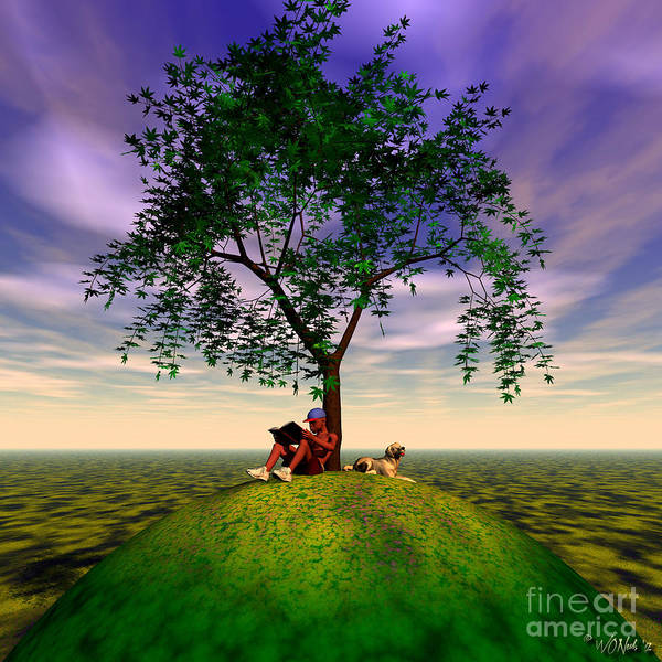 Fantasy Art Print featuring the digital art The Learning Tree by Walter Oliver Neal