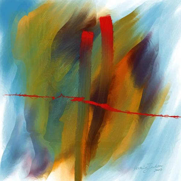 Red Abstract Lines Soft Moves Air Water Art Print featuring the digital art The Red Line by Veronica Jackson