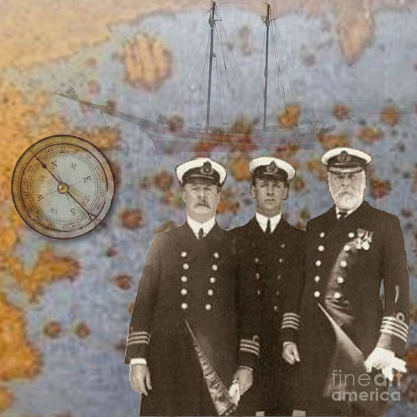 Men Captains Ship Compass Exploration Sepia Orange Blue Photograph Three Mystery Masts Art Print featuring the digital art The Sea Captains by Steve Wyburn