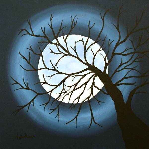 Moon Art Print featuring the painting The Sleeping by Angela Hansen