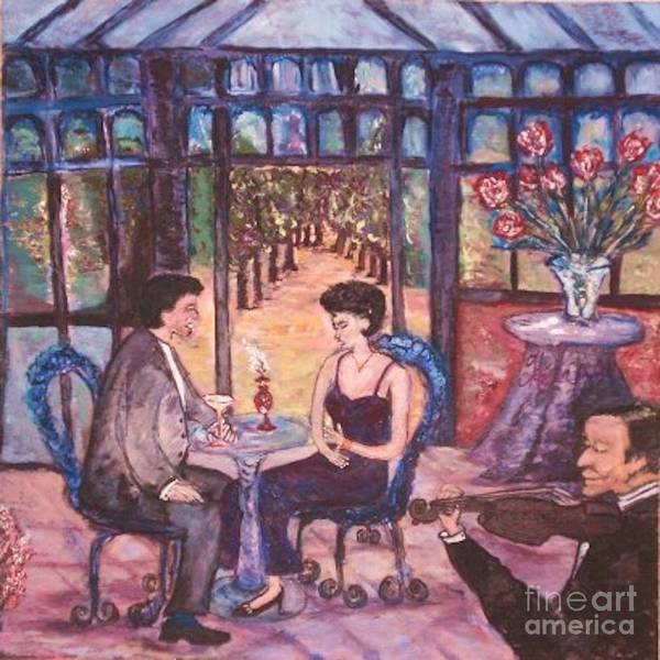 Dining Art Print featuring the painting The Wandering Violinist by Helena Bebirian