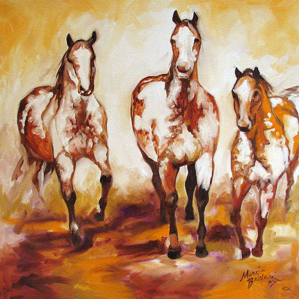 Horse Art Print featuring the painting Three Pinto Indian Ponies by Marcia Baldwin