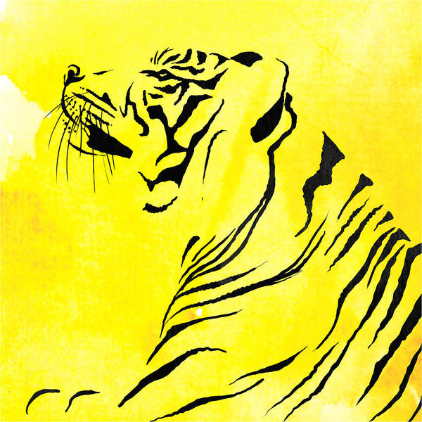 Tiger Art Print featuring the painting Tiger Animal Decorative Black And Yellow Poster 3 - By Diana Van by Diana Van