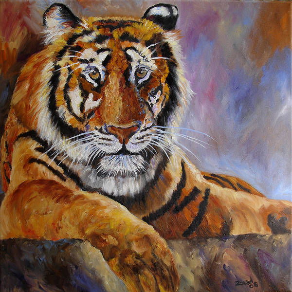Tiger Art Print featuring the painting Tiger Resting by Mary Jo Zorad