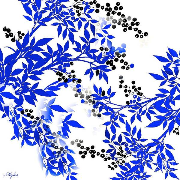 Toile Art Print featuring the painting Toile Blue And White Tree by Saundra Myles