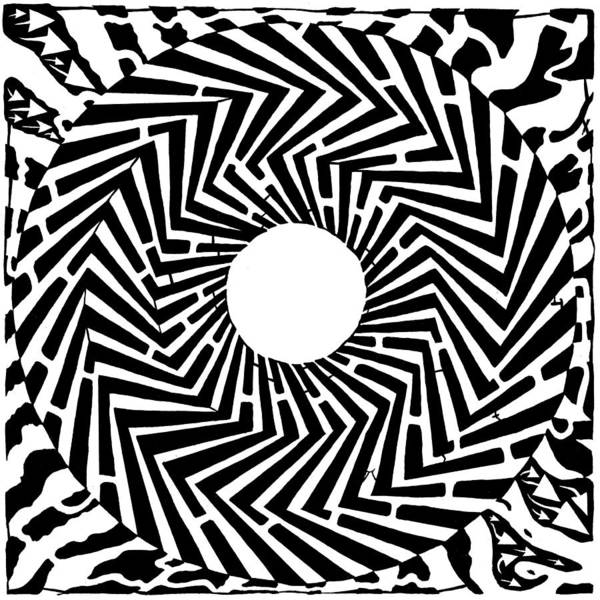 Swirly Art Print featuring the drawing Trippy Optical Illusion Swirly Maze by Yonatan Frimer Maze Artist