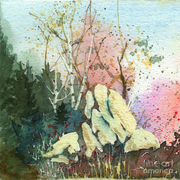Landscape Art Print featuring the painting Triptych Panel 1 by Lynn Quinn