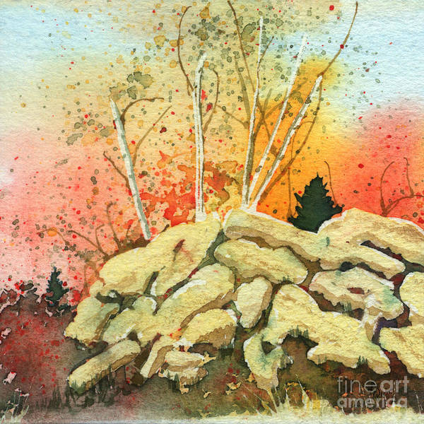 Landscape Art Print featuring the painting Triptych Panel 2 by Lynn Quinn