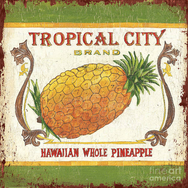 Kitchen Art Print featuring the painting Tropical City Pineapple by Debbie DeWitt