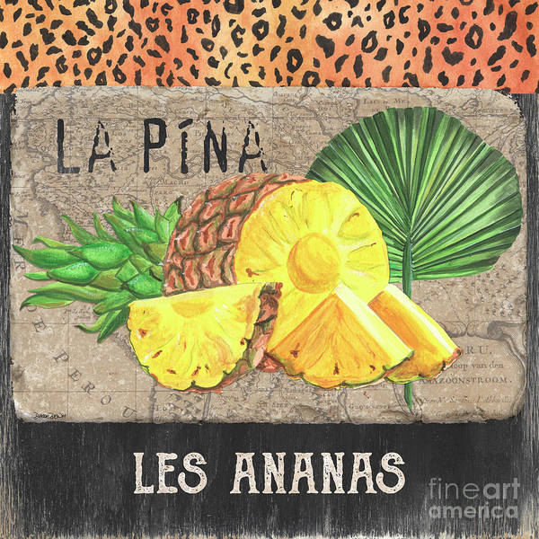 Pineapple Art Print featuring the painting Tropical Palms 5 by Debbie DeWitt