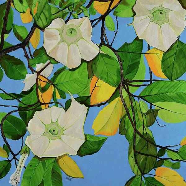 Angels Trumpets Art Print featuring the painting Trumpets In Paradise by Pamela Trueblood