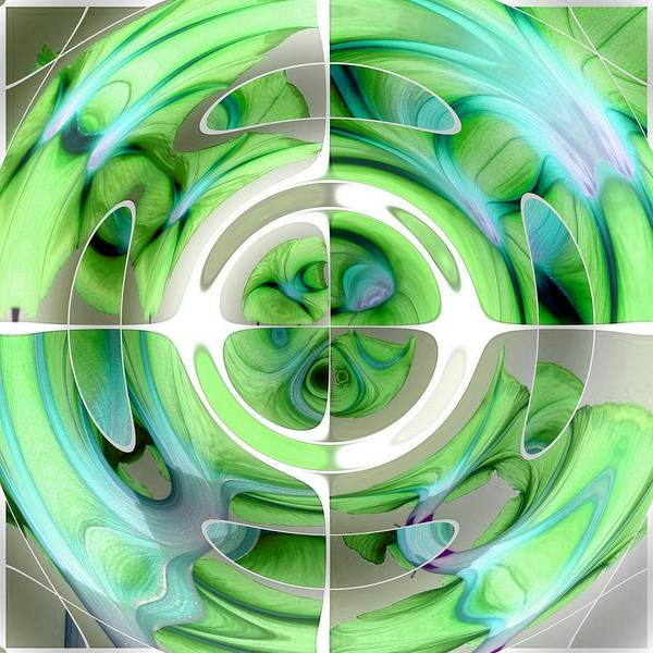 Turquoise Art Print featuring the digital art Turquoise And Green Abstract Collage by Taiche Acrylic Art