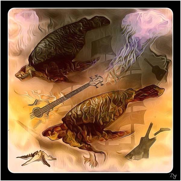 Surreal Mixed Media Sea Life Art Print featuring the mixed media Turtles Play Yard by Patricia DOYLE Olson