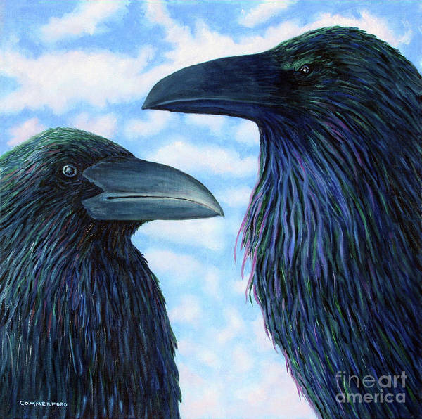 Raven Art Print featuring the painting Two Ravens by Brian Commerford