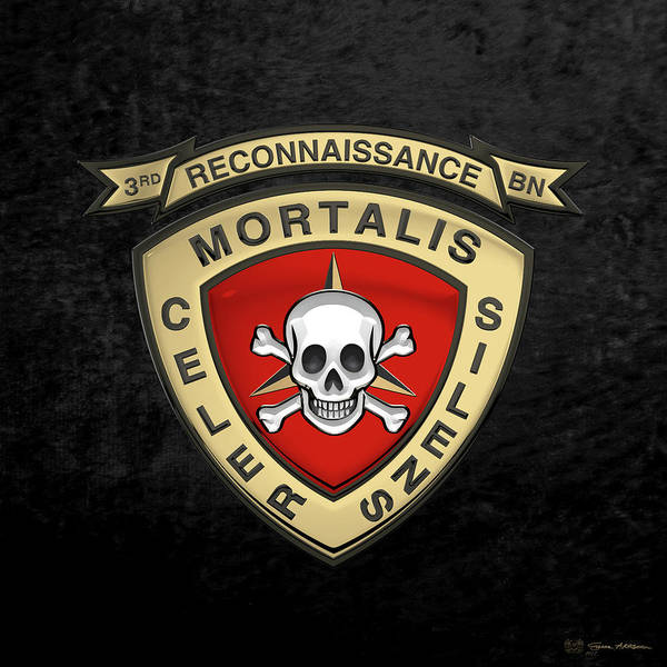 'military Insignia & Heraldry' Collection By Serge Averbukh Art Print featuring the digital art U S M C 3rd Reconnaissance Battalion - 3rd Recon Bn Insignia Over Black Velvet by Serge Averbukh