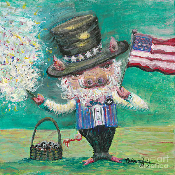 Fourth Of July Art Print featuring the painting Uncle Spam by Nadine Rippelmeyer
