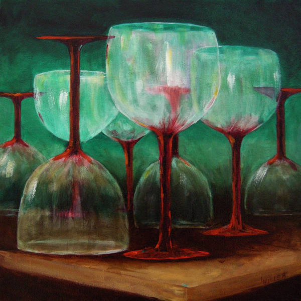Oil Art Print featuring the painting Upsidedown by Linda Hiller