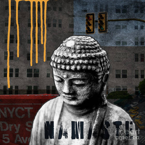 Buddha Print featuring the mixed media Urban Buddha by Linda Woods