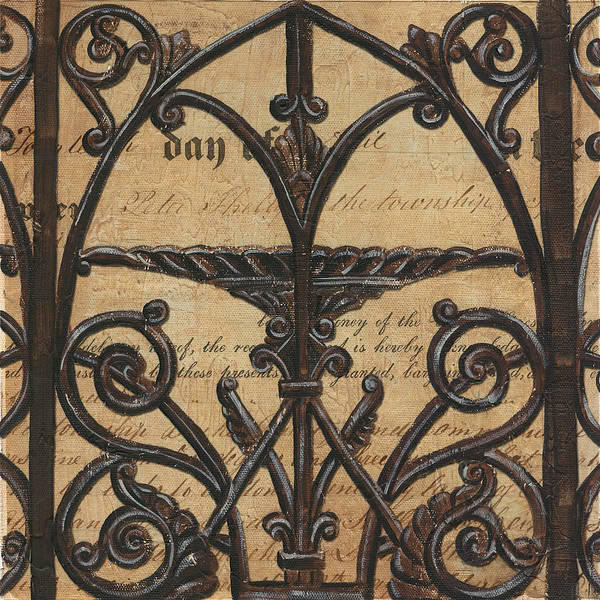 Iron Art Print featuring the painting Vintage Iron Scroll Gate 1 by Debbie DeWitt