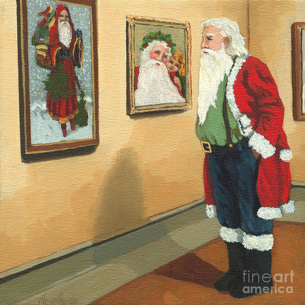 Santa Art Print featuring the painting Vintage Victorian - Museum Santa by Linda Apple