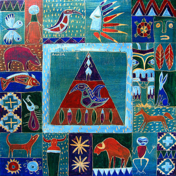 Native Art Print featuring the painting Vision Of Native North America by Aliza Souleyeva-Alexander