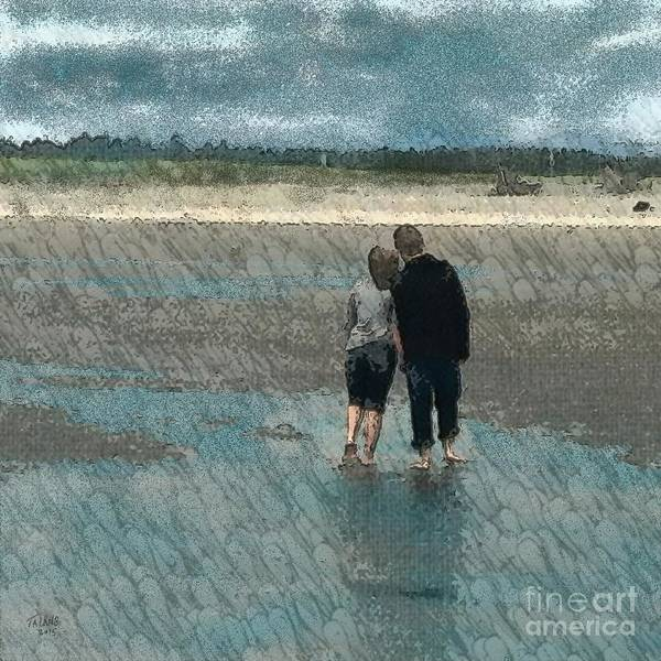 Couple Walking Art Print featuring the photograph Walking On Water by Teresa A Lang