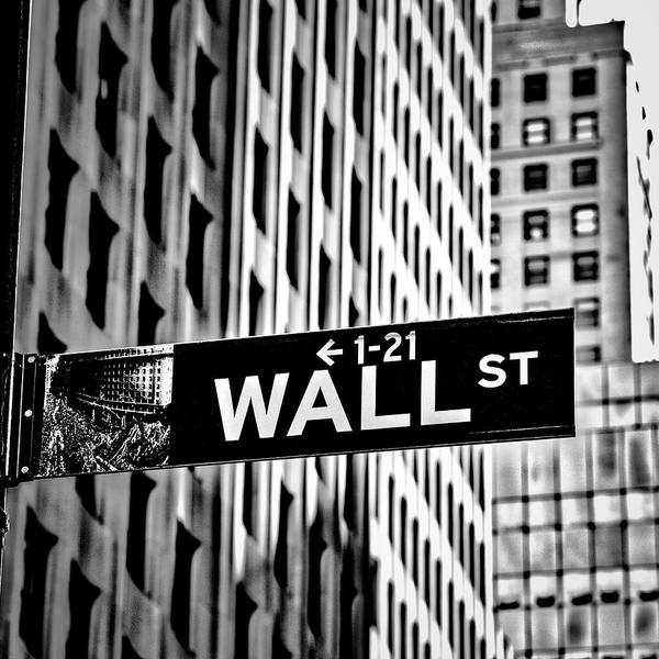 Wall Street Sign Art Print featuring the photograph Wall St Sign New York In Black And White by Garry Gay
