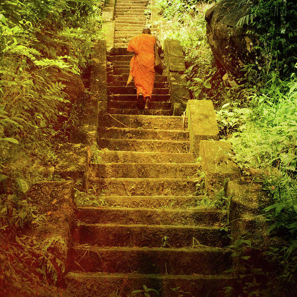 Buddhist Monk Print featuring the photograph Way To Buddha's Temple by Justyna Lorenc