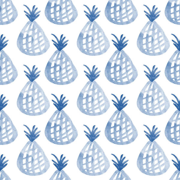 Pineapple Art Print featuring the mixed media White And Blue Pineapple Party by Linda Woods