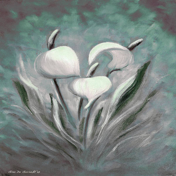 Tropical Art Print featuring the painting White Tropical Flowers by Gina De Gorna