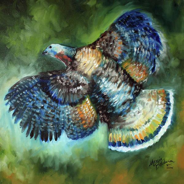 Wildlife Art Print featuring the painting Wild Turkey In Flight by Marcia Baldwin