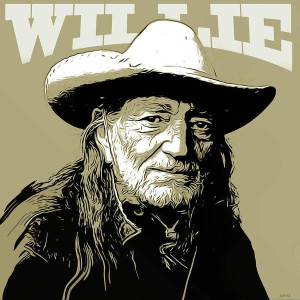 Willie Nelson Art Print featuring the mixed media Willie by Greg Joens
