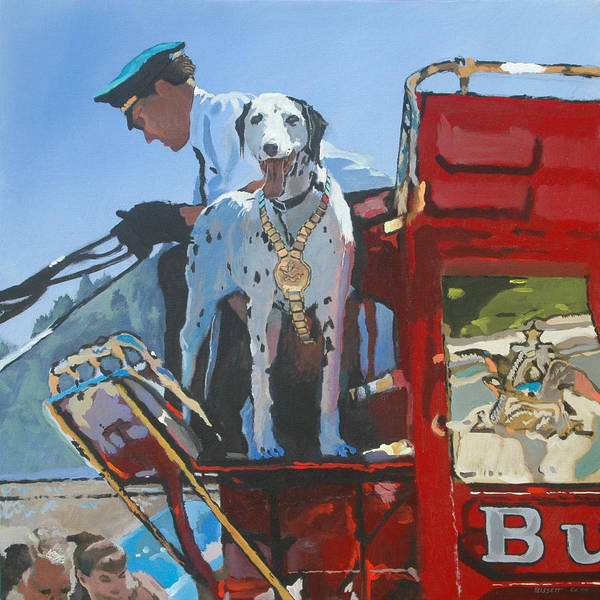 Dog Art Print featuring the painting Working Dog by Robert Bissett