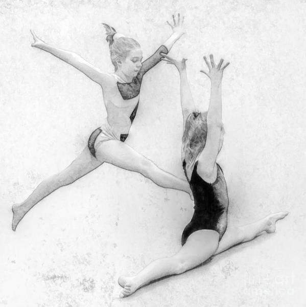 Gymnastics Art Print featuring the digital art Young Girl Gymnast by Randy Steele
