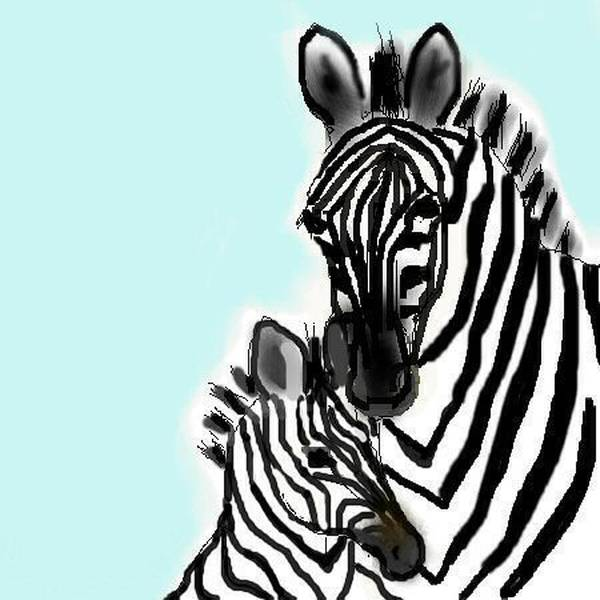 Animals Art Print featuring the digital art Zebras by Carole Boyd