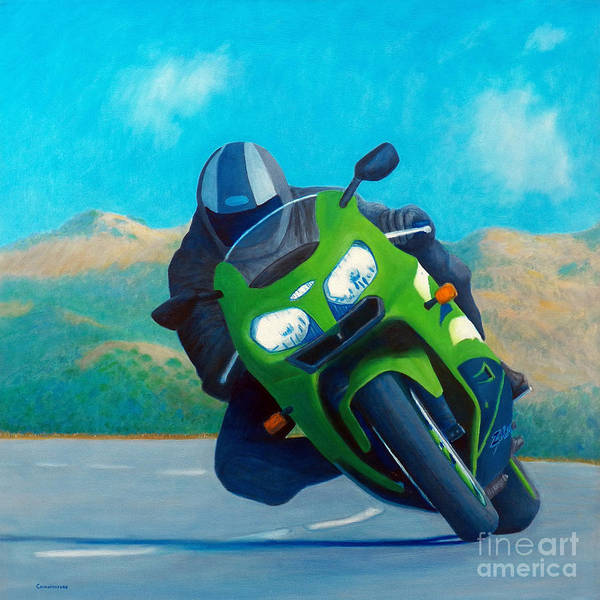 Motorcycle Art Print featuring the painting Zx9 - California Dreaming by Brian Commerford